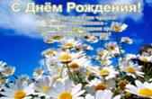 Открытка с Днем Рождения с стихотворением, цветы, ромашки