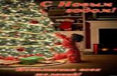 Открытка с Новым годом, новогодняя елка и ребенок