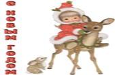Открытка с Новым годом, девочка на олене
