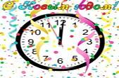 Открытка с Новым годом, часы, конфети