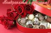 Открытка Поздравляем с юбилеем, цветы, красные розы и конфеты