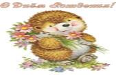 Открытка с Днем Рождения, ежик и букет цветов
