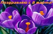 Открытка поздравляю с 8 марта, цветы